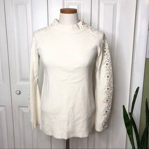 Stylus cream cotton sweater, lace detail